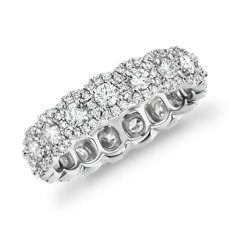 Halo Diamond Eternity Ring 18k White Gold