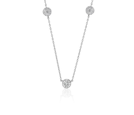Petite Diamond Halo Stationed Necklace in 14k White Gold (1/4 ct. tw.)