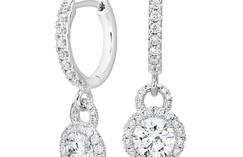 Pendants d'oreilles diamant halo en or blanc 14carats (1carat, poids total)