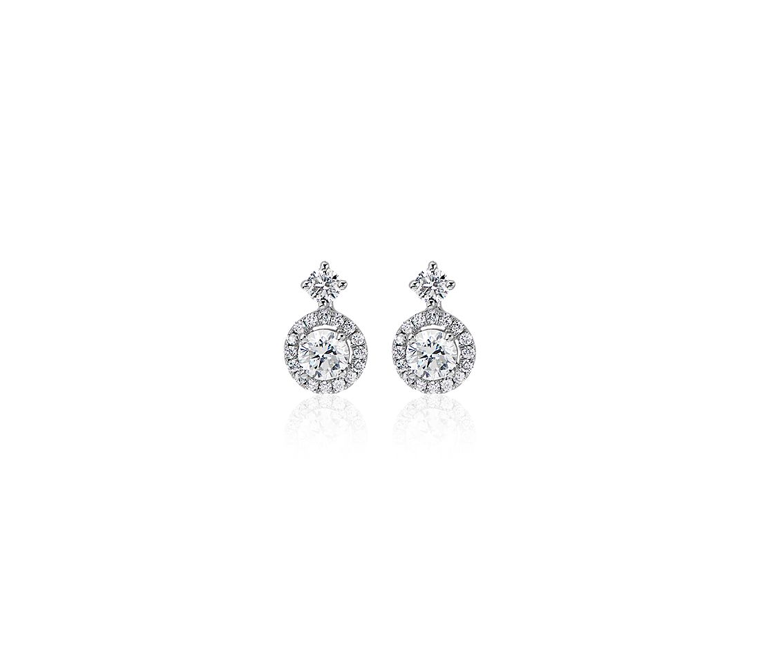 Halo Drop Diamond Earrings in 14k White Gold (0.51 ct. tw.)