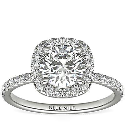Anillo de compromiso de diamantes de halo Arietta en platino (1/5 qt. total)