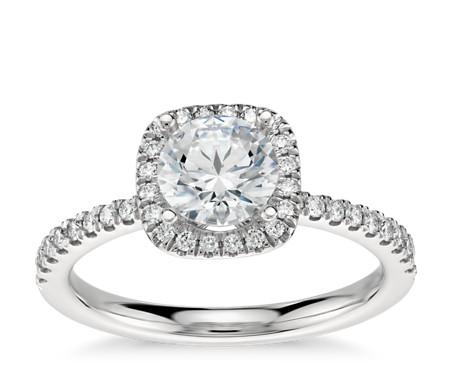 Arietta Halo Diamond Engagement Ring in Platinum (1/5 ct. tw.)