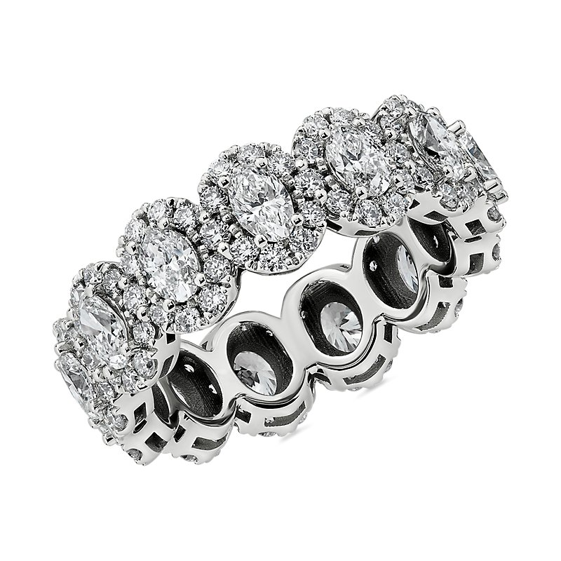 Halo Oval-Cut Diamond Eternity Ring in 14k White Gold (2 3/4 ct.