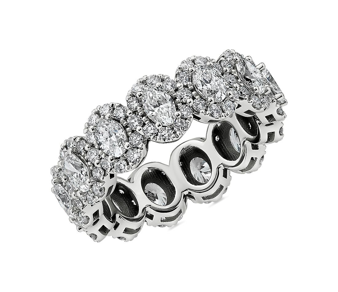 Halo Oval-Cut Diamond Eternity Ring in 14k White Gold (2 3/4 ct. tw.)