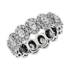 オーバルカットダイヤモンドのハローエタニティリング  (K14ホワイトゴールド)(合計2 3/4カラット)