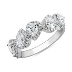 NEW Halo Pear Diamond Fashion Ring in 14k White Gold (1 1/2 ct. tw.)
