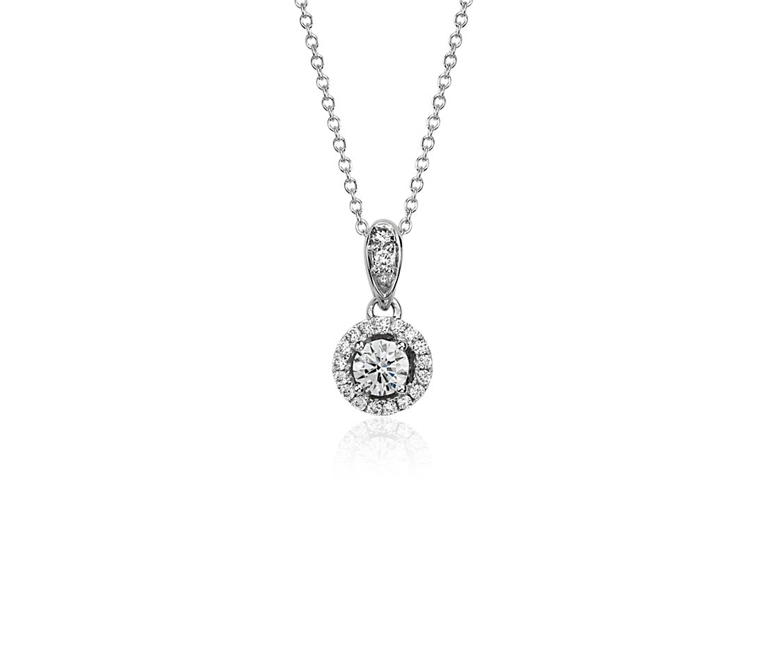 Diamond Halo Pendant in 18k White Gold (1/3 ct. t.w)