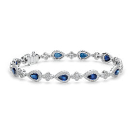 Sapphire and Pavé Diamond Halo Bracelet in 18k White Gold (6x4mm)