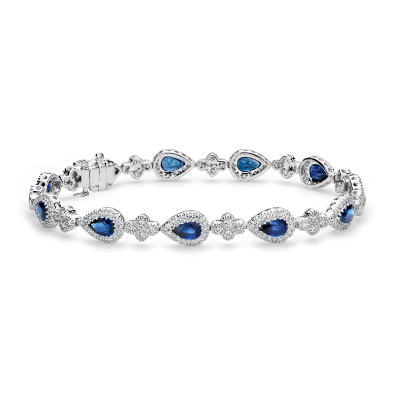 Sapphire and Pavé Diamond Halo Bracelet in 18k White Gold