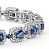 Radiant Cut Sapphire and Diamond Halo Bracelet in 18k White Gold (4.5x3.6mm)