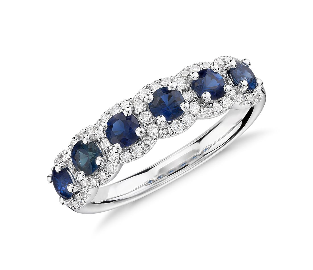 Halo Sapphire and Diamond Ring in 14k White Gold