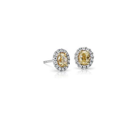 Yellow Oval Diamond Halo Earrings in 18K White Gold Earring (18KW 0.90 cttw)