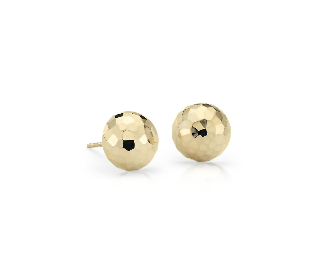 Hammered Stud Earrings in 14k Yellow Gold (9.5mm)