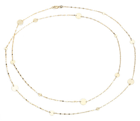 Blue Nile Stationed Disc Necklace in 14k Yellow Gold DcVH3Fdzia