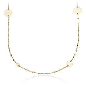 Hammered Forzatina and Disc Station Necklace in 14k Yellow Gold