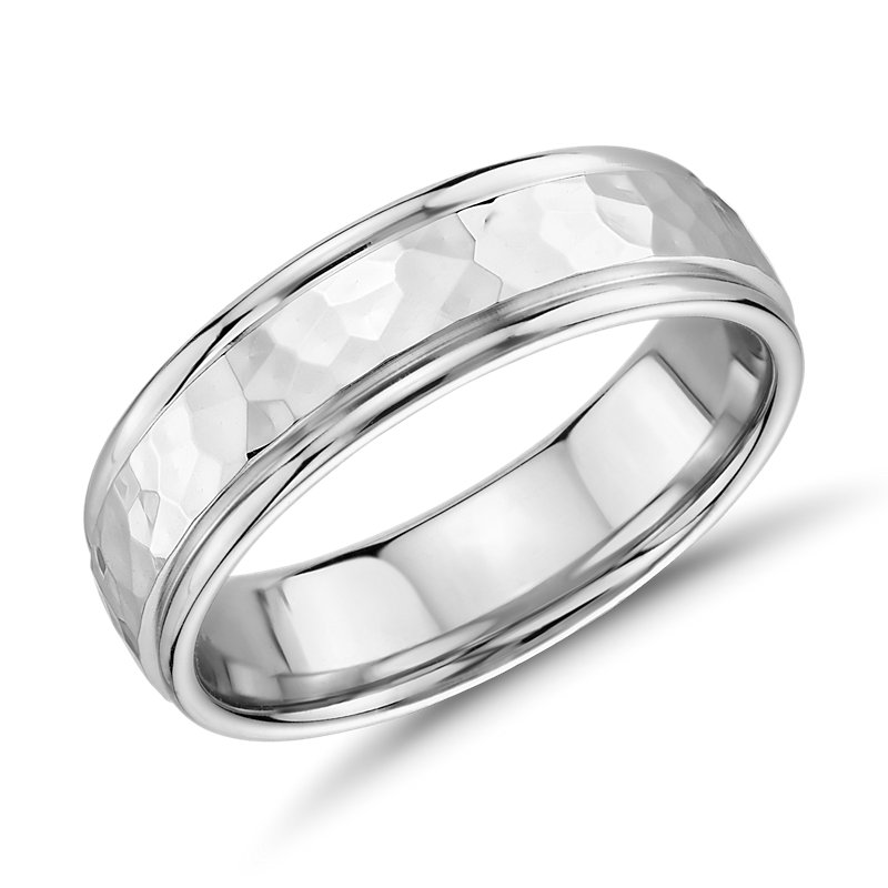 Hammered Inlay Wedding Band in 14k White Gold (6.5mm)