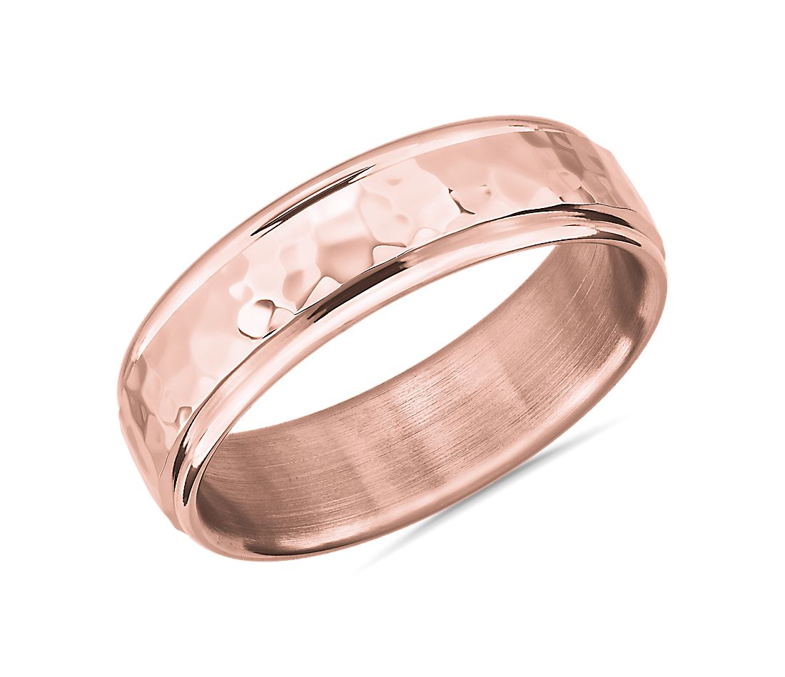 Hammered Inlay Wedding Band in 14k Rose Gold (6.5mm)