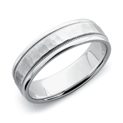 Hammered Milgrain Comfort Fit Wedding Ring in 14k White Gold 6mm
