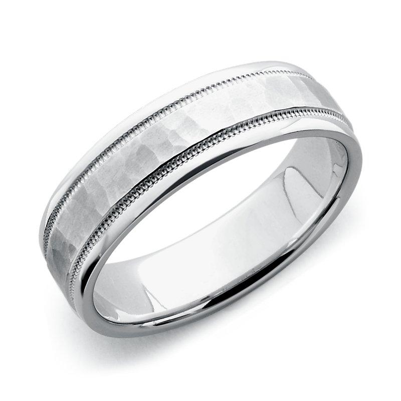 Hammered Milgrain Comfort Fit Wedding Ring in 14k White Gold (6mm