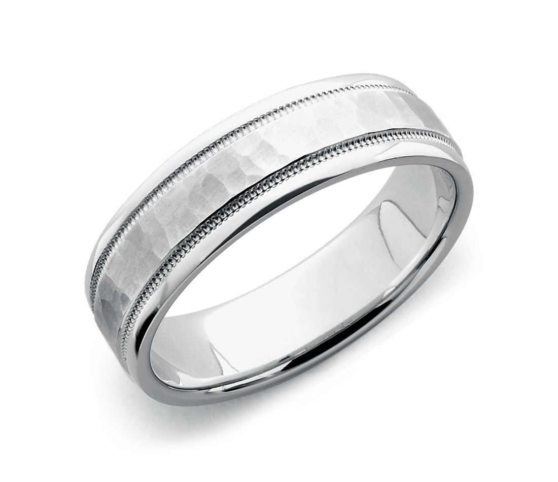hammered milgrain comfort fit wedding ring in 14k white gold (6mm