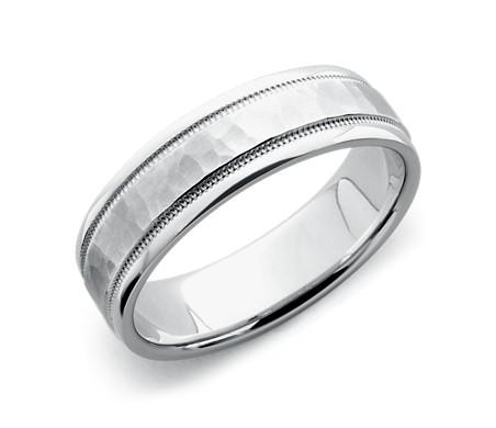 Hammered Milgrain Comfort Fit Wedding Ring In 14k White Gold 6mm