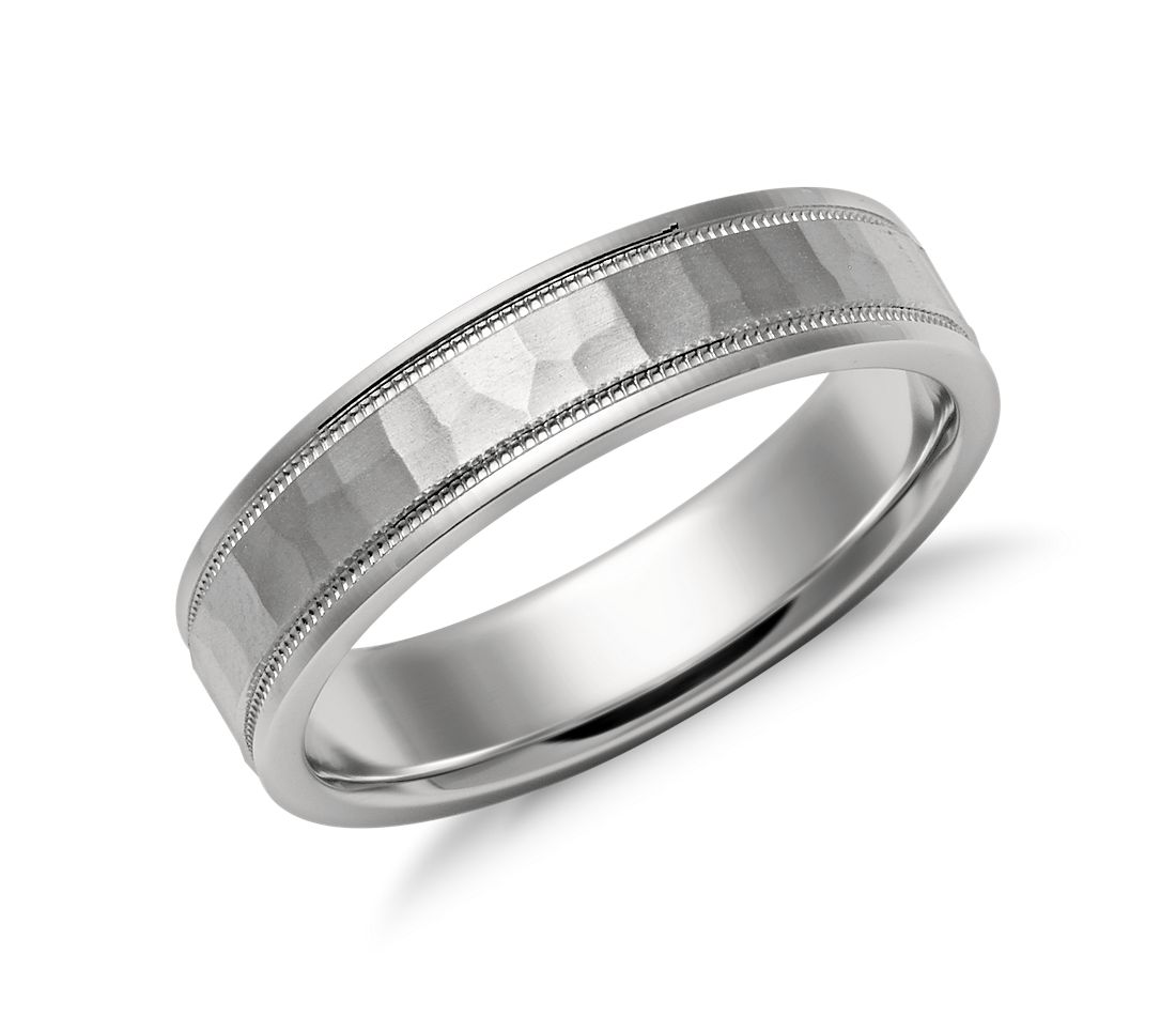 hammered milgrain comfort fit wedding ring in platinum With hammered platinum wedding ring