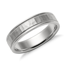Hammered Milgrain Comfort Fit Wedding Ring in Platinum (5mm)