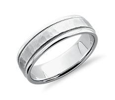 Hammered Milgrain Comfort Fit Wedding Ring in Platinum (6mm)