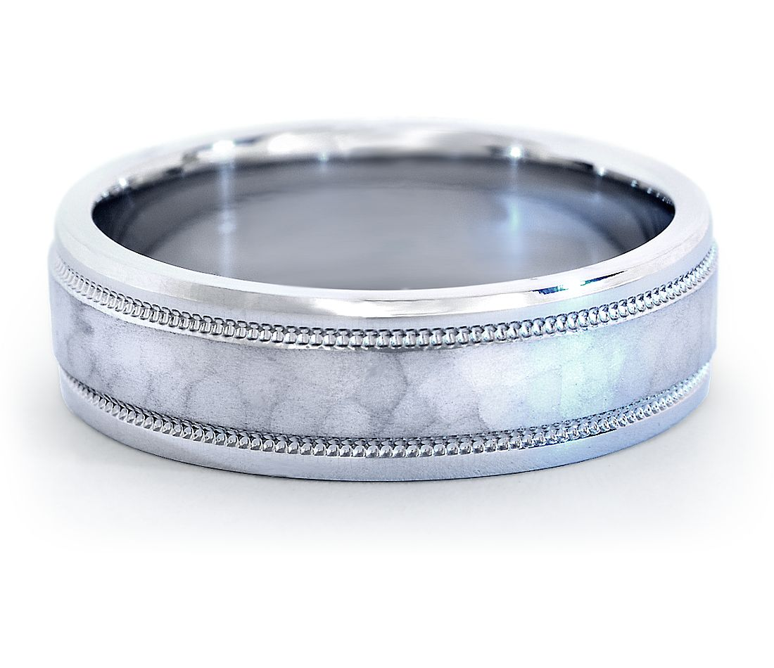 Hammered Milgrain Comfort Fit Wedding Ring In Platinum 6mm