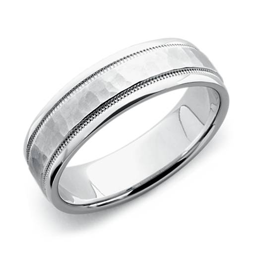 Hammered milgrain comfort fit wedding ring in platinum for Wedding ring companies