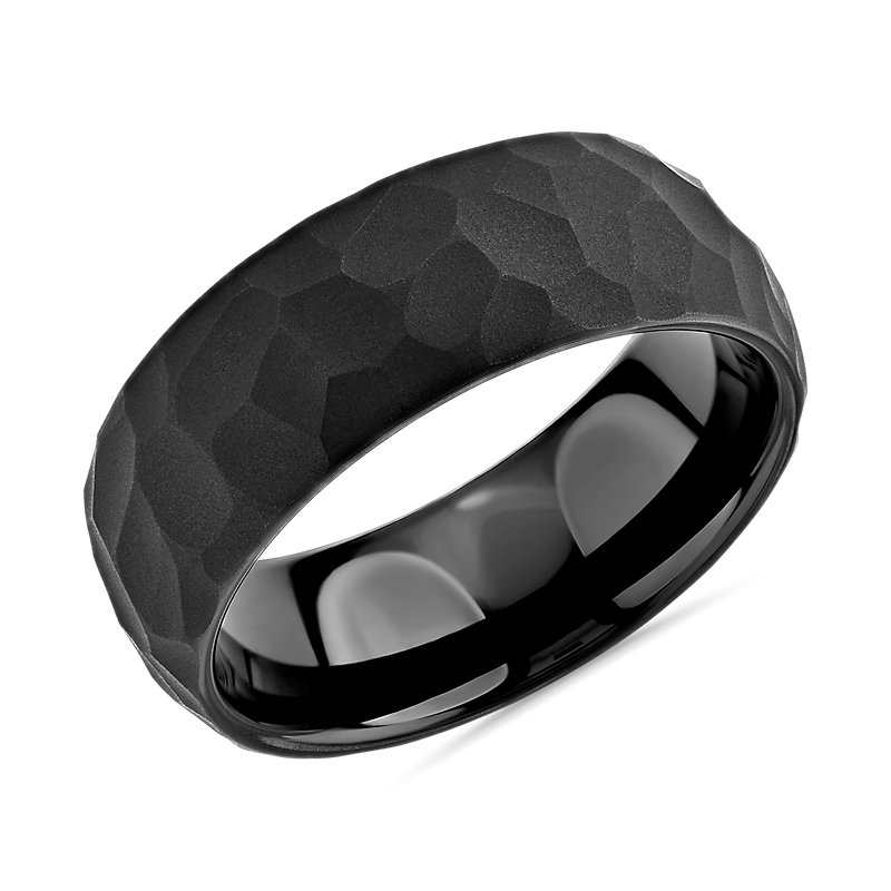 Matte Hammered Edge Wedding Band in Black Tungsten Carbide (8mm)
