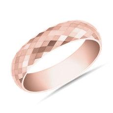 新款 18k 玫瑰金锤打式结婚戒指