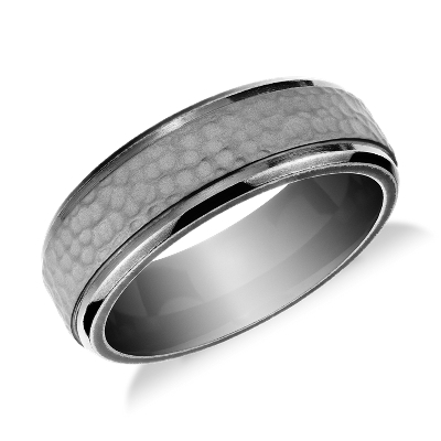 Hammered Finish Wedding Ring in Tantalum 75mm Blue Nile