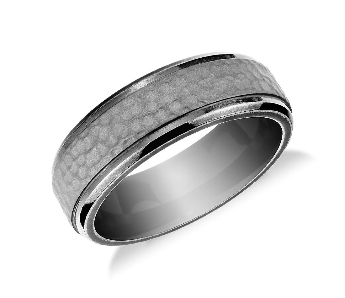 Hammered Finish Wedding Ring in Tantalum (7.5mm)