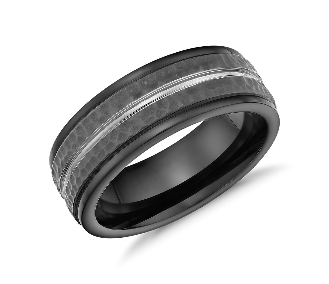 hammered finish wedding ring in blackened cobalt 8mm - Cobalt Wedding Rings