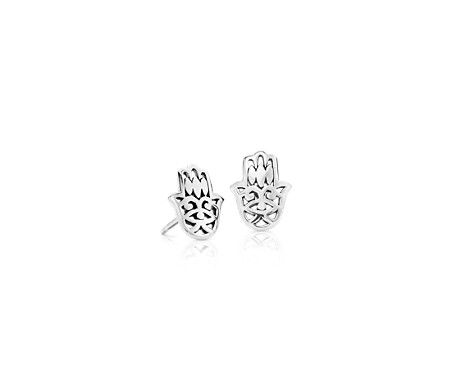 Hamsa Hand Stud Earrings in Sterling Silver