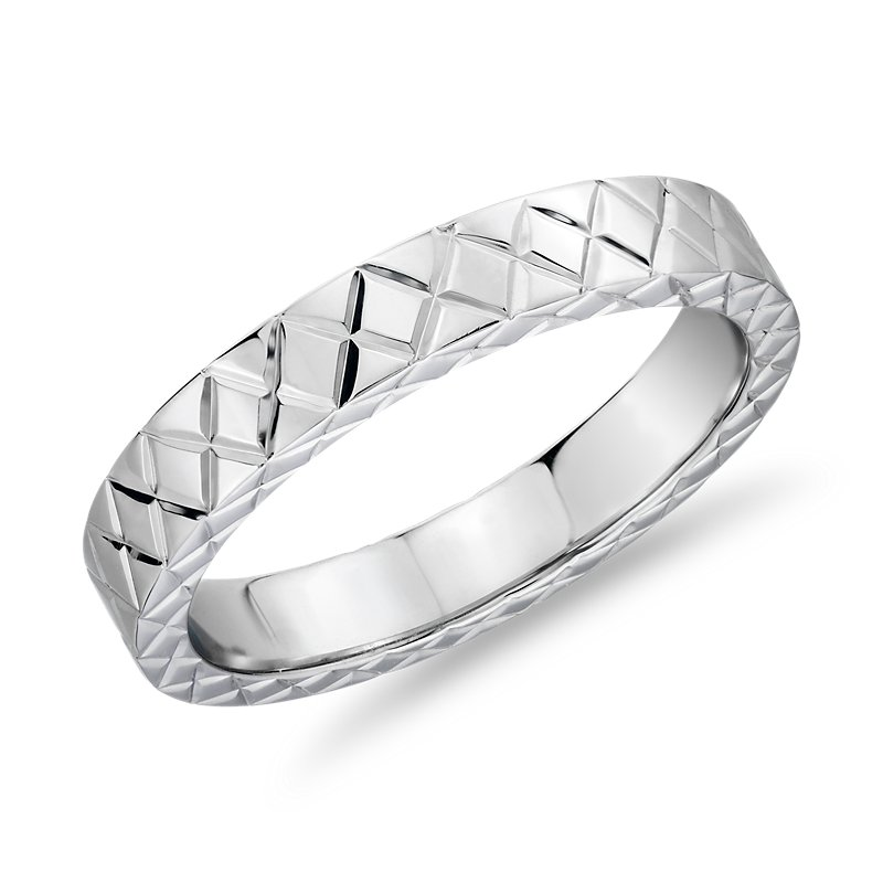 Hand-Engraved Criss-Cross Wedding Ring in 14k White Gold (4mm)