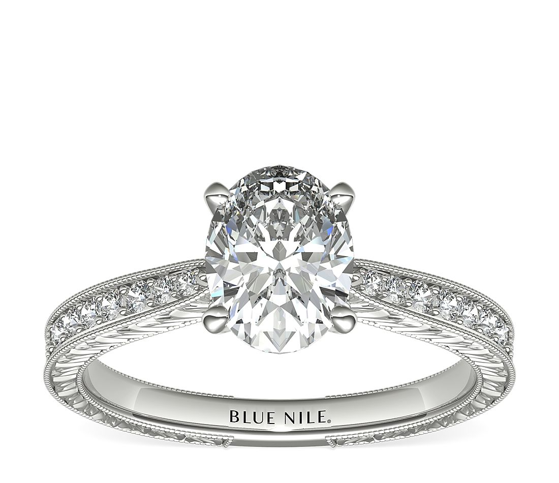 1.2ct.OV in Engraved Micropave Diamond Setting in Platinum