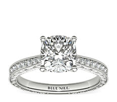 Hand-Engraved Micropavé Diamond Engagement Ring in Platinum (1/6 ct. tw.)