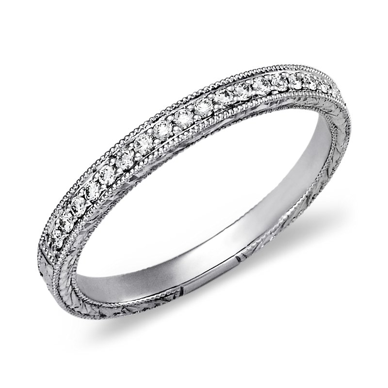 Hand-Engraved Micropavé Diamond Ring in Platinum (1/8 ct.
