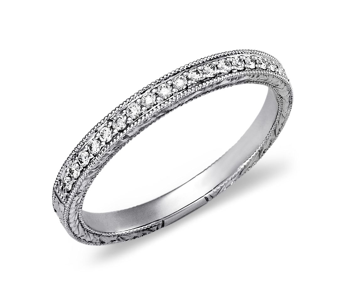 hand engraved micropav diamond ring in 14k white gold 15 ct tw - Wedding Band And Engagement Ring Set