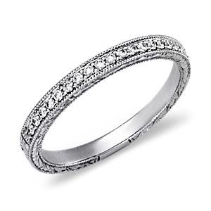 Bague en diamants sertis micro-pavé gravée à la main en platine (1/5carat, poids total)