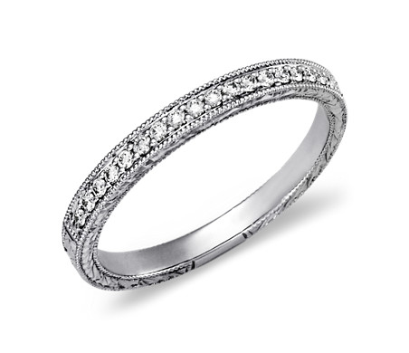 Hand-Engraved Micropavé Diamond Ring in Platinum (0.12 ct. tw.)