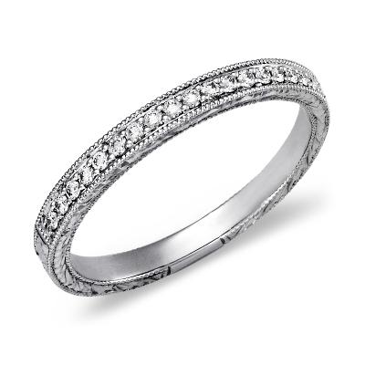 HandEngraved Micropav Diamond Ring in 14k White Gold 15 ct tw