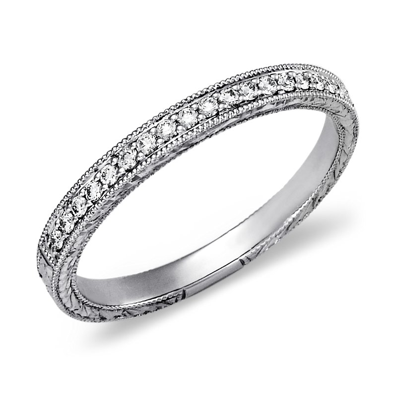 Hand-Engraved Micropavé Diamond Ring in 14k White Gold (1/
