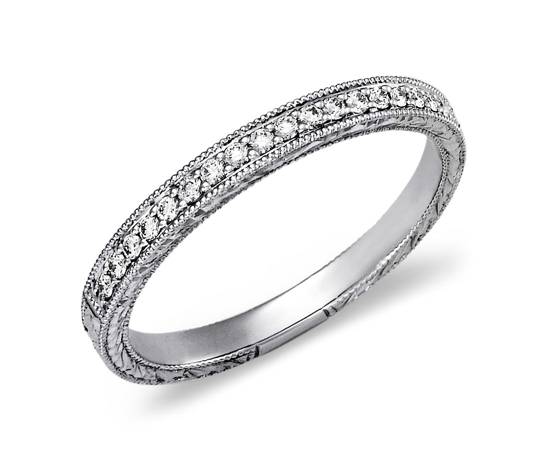 Hand-Engraved Micropavé Diamond Ring in 14k White Gold (1/8 ct. tw.)