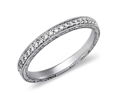 Hand-Engraved Micropavé Diamond Ring in 14k White Gold (0.12 ct. tw.)