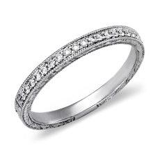 14k 白金手工雕刻棕微密釘鑽石戒指(1/8 克拉總重量)