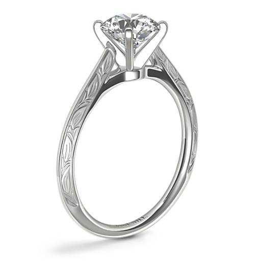Hand-Engraved Profile Solitaire Engagement Ring