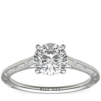 Hand-Engraved Profile Solitaire Engagement Ring in Platinum